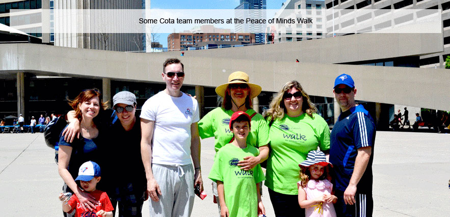 Cota staff at finish line of peace of mind walk