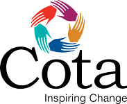 Cota logo with five coloured hands and our tag line, inspiring change