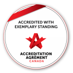 Accredited with Exemplary standing seal from Accreditation Canada