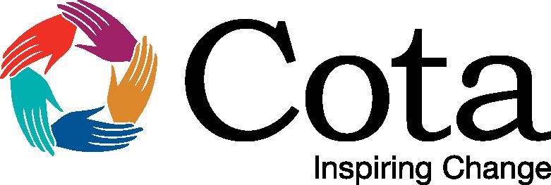 Cota Logo, inspiring change tagline, horizontal