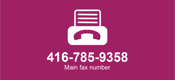 Fax machine icon listing Cotas fax number 416-785-9358