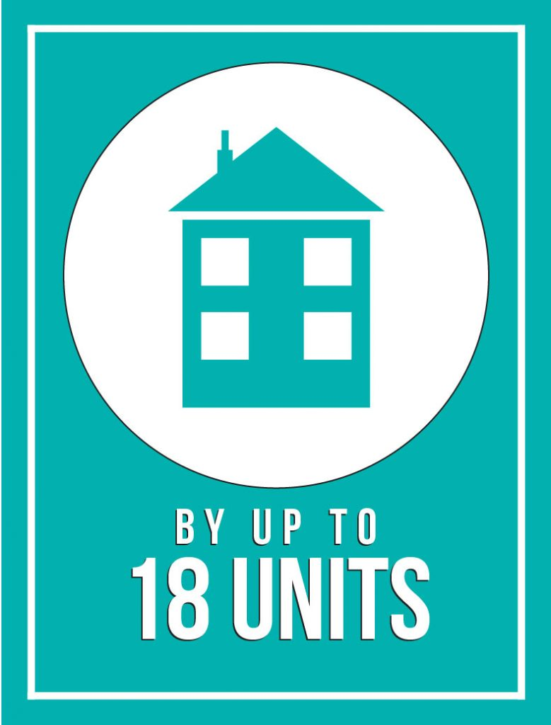 Graphic of house that reads by up to 18 units