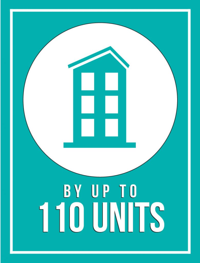 Graphic of house that reads by up to 110 units