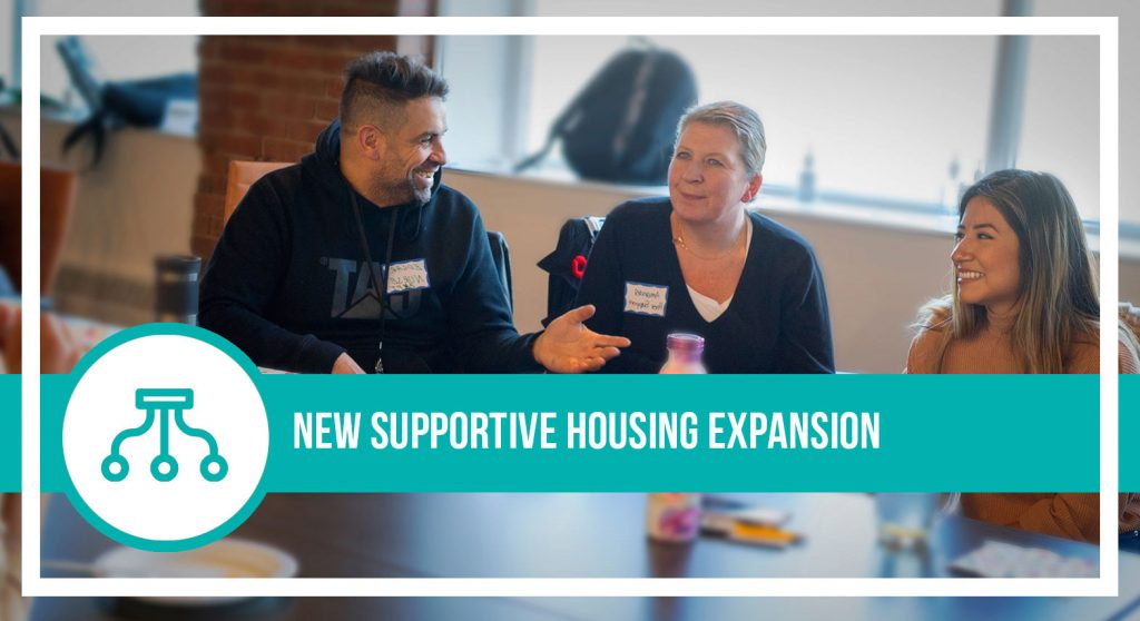 Image of three people at a table that reads new supportive housing expansion