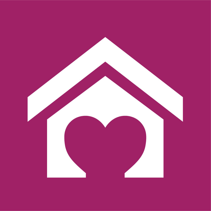 Icon image of a house with a heart shaped door representing Cota's supportive housing and housing supports programs