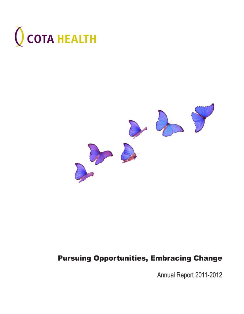 2011-12 Annual Report Cover page with purple butterflies flying on page