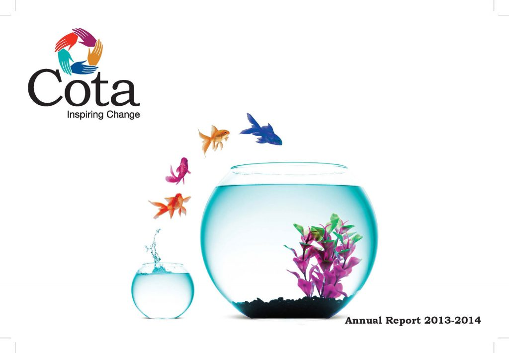 2013-14 Annual Report Cover page with Cota coloured fish jumping out a fish bowl