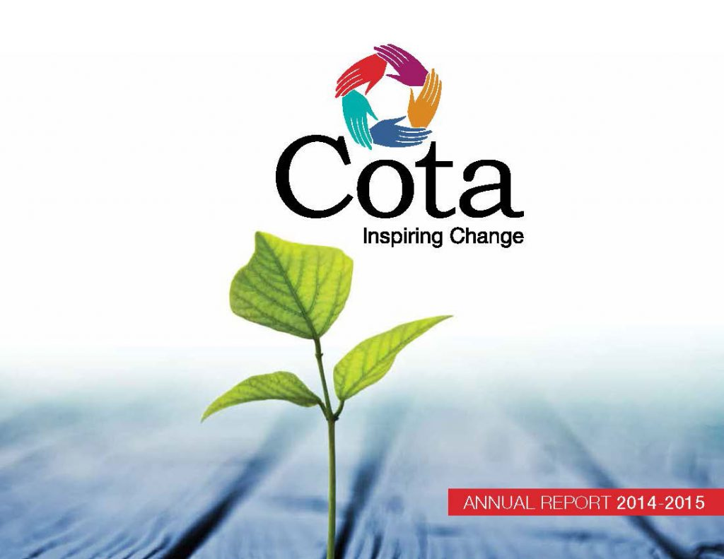 2014-15 Annual Report Cover page with growing plant out of wood and Cota logo