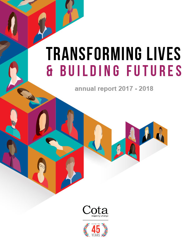 Cotas Annual Report cover for 2017-18 featuring coloured blocks stacked and reads Transforming Lives and Buildings Futures