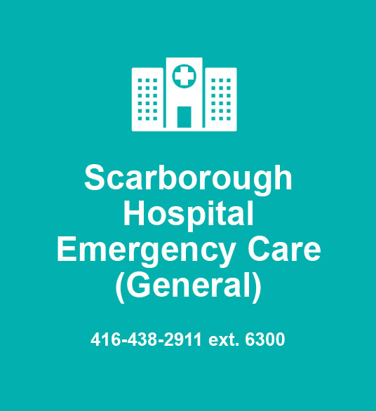 Scarborough Hospital Emergency Care (General) 416-438-2911 ext. 6300