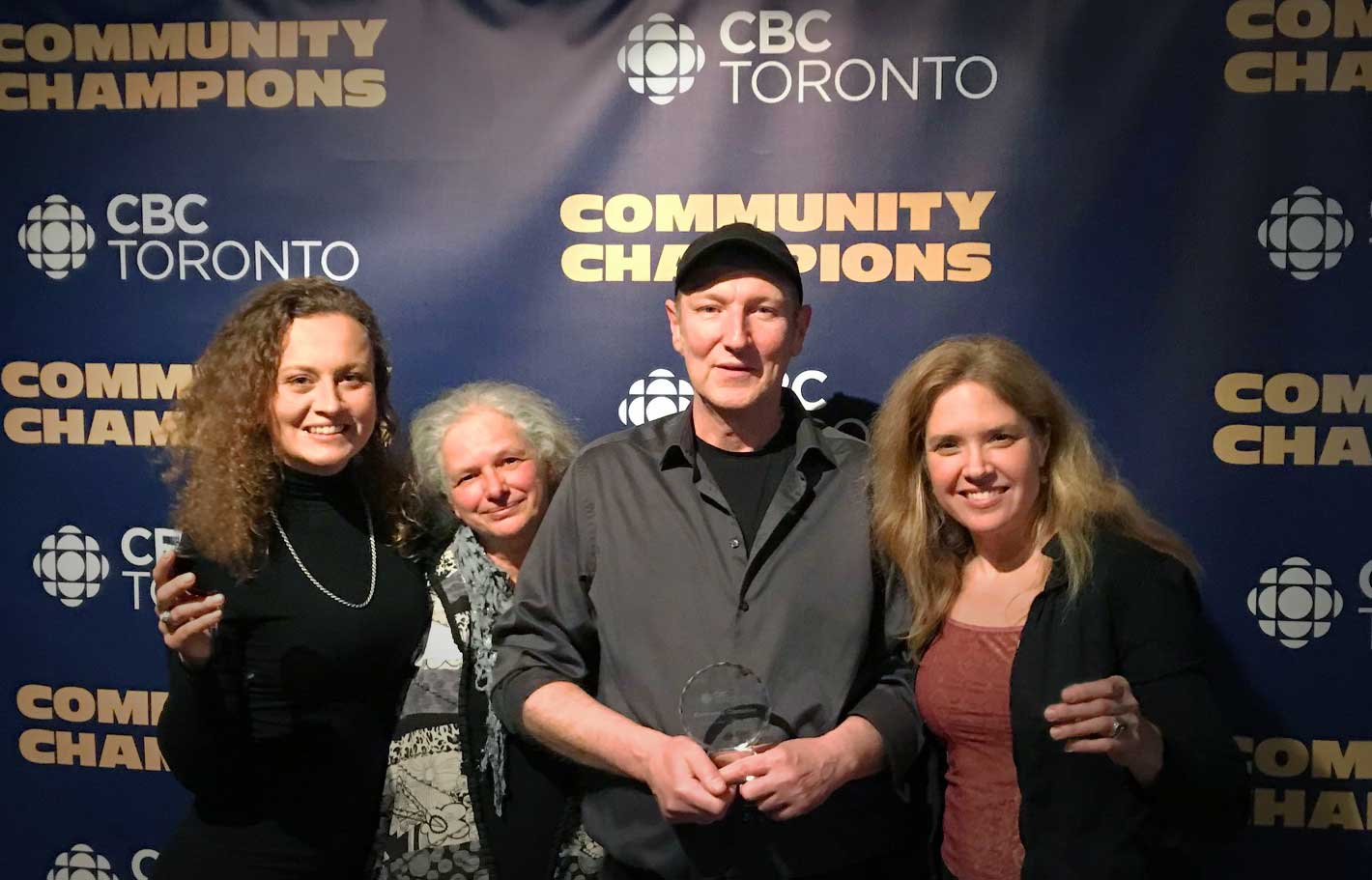 The local artists and Cota staff at the CBC Community Champions awards evening