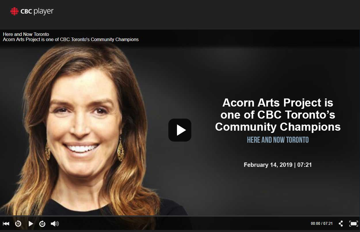 CBC Here and Now interview with local artists and Cota staff about the acorn arts project