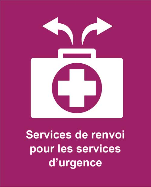 icon of arrows pointing away from medical cross representing Cotas diversion service for emergency departments