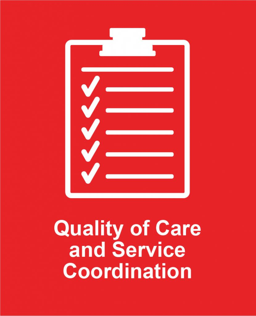 Icon image of check marked clip board representing Cota's quality of care oversight programs