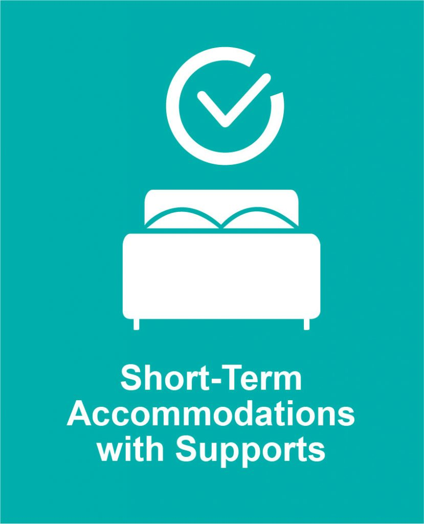 Icon image of a clock over a bed representing Cota's short-term accommodations programs