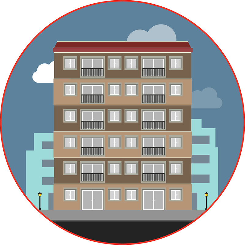 Graphic depiction of the Collegeview apartment building