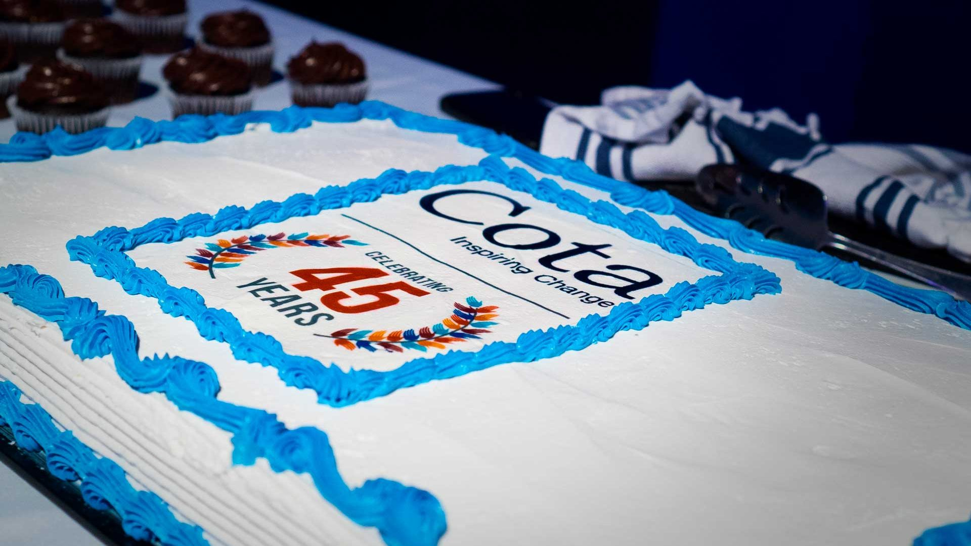 45 anniversary celebration cake at inspiring change award event