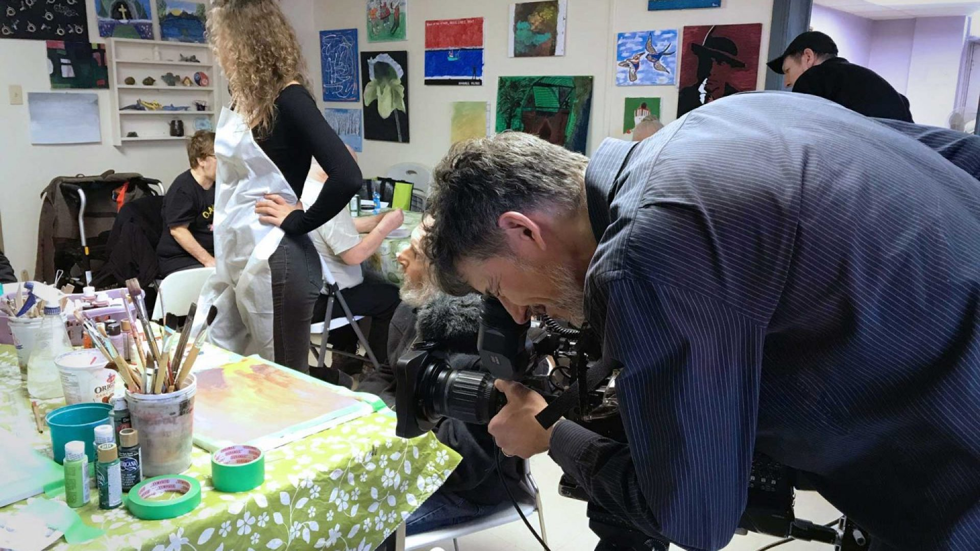 CBC OUR TORONTO Marivel visiting 220 Oak Street art studio to film segment