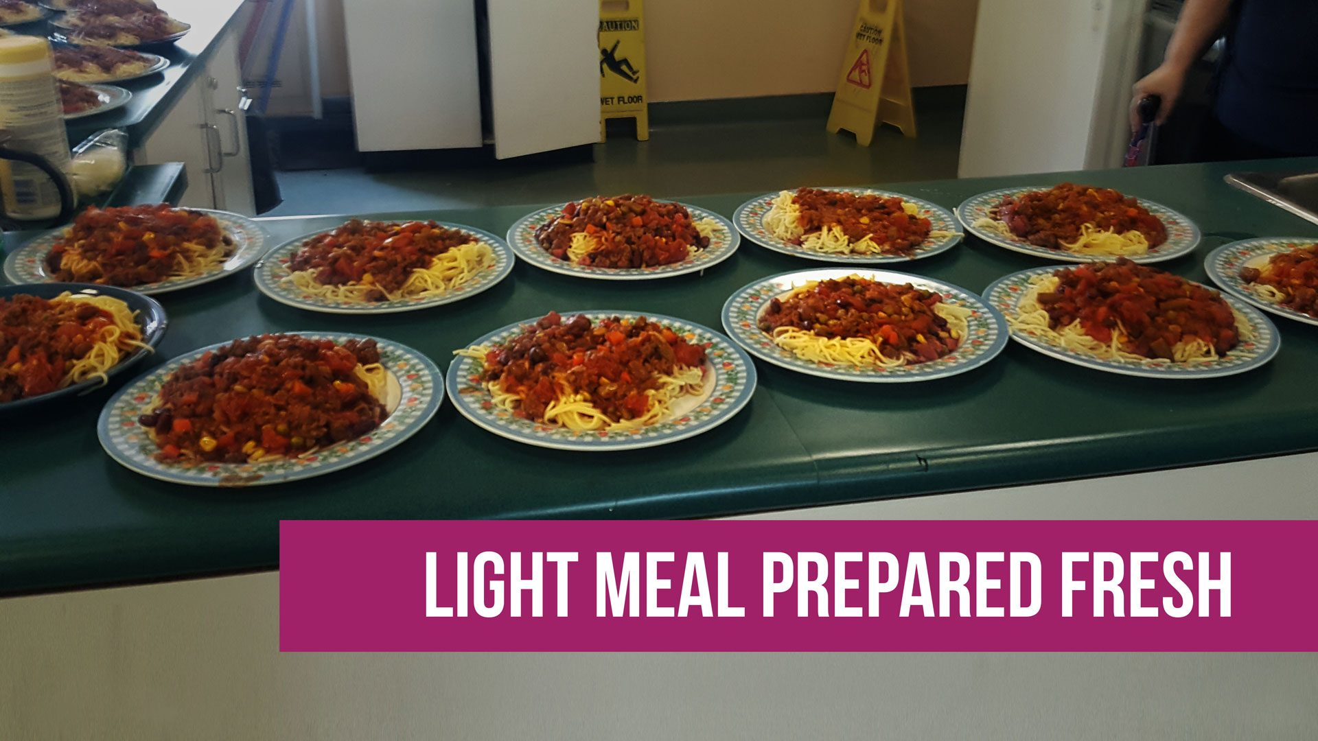 Hot meal prepared in food program at ABI ADS program